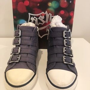 New Ash Navy High Top Sneaker